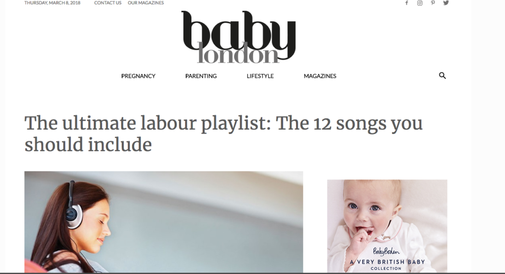 Playlist for labour. Songs to make the midwife chuckle. Baby London